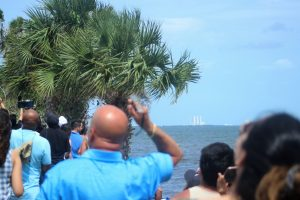 Crowds watch SpaceX Falcon 9 launch